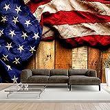 murando - Fototapete Fahne America 300x210 cm - Vlies Tapete - Moderne Wanddeko - Design Tapete - Wandtapete - Wand Dekoration - Holz Bretter USA blau rot braun f-B-0132-a-a
