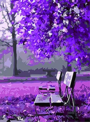 [ New Release ] Diy Oil Painting by Numbers, Paint by Number Kits - Waiting Romantic Purple Tree 16*20 inches - Digital Oil Painting Canvas Wall Art Artwork Landscape Paintings for Home Living Room Office Christmas Decor Decorations Gifts - Diy Paint by N