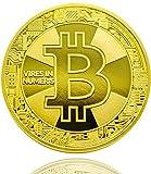 Ze2-Gear Bitcoin Münze Gold - 24 Karat Gold Beschichtung, Neues Design aus Deutschland, Hochwertige Optik, Schwere Qualität, Ideal als Geschenk Oder Glücksbringer
