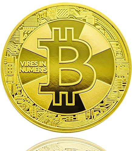 Bitcoin Münze Gold - 24 Karat Gold Beschichtung, Design 2017 aus Deutschland, hochwertige Optik, schwere Qualität, ideal als Geschenk oder Glücksbringer