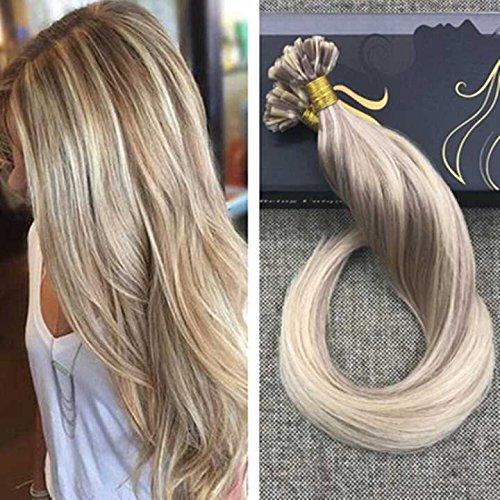 Ugeat 50g Dip Dyed Piano Ash Brown to Bleach Blonde Extensiones de Cabello Humano 55cm Ombre Brazilian Keratin Extensions de Pelo Color # P18/613