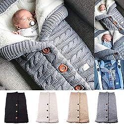 Yinuoday - Manta para bebé recién nacido con terciopelo para cochecito de bebé, manta de forro polar suave y cálida para niños y niñas gris gris Talla:25.6 * 15.7 inch