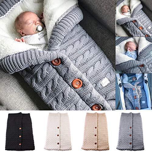 Neonato coperta per passeggino wrap più velluto, yinuoday baby kids toddler knit di spessore morbido pile caldo sacco nanna swaddle sacco nanna passeggino per ragazzi e ragazze