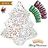 Nicedeco 50 Feuilles (Plus de 1500 pcs)Mix Couleur 3D Nail Art Sticker Autocollant à Ongles bricolage Christmas Noël Pattern