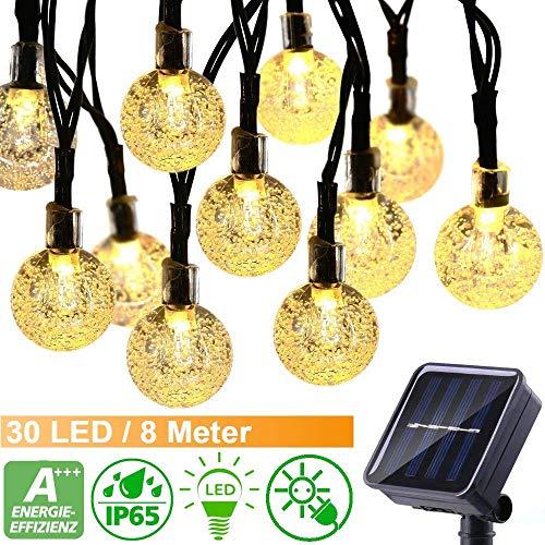30 LED Solar Lichterkette außen mit Lichtsensor, 8M Kristallbälle 8 Modi IP65 1000mAh Solarbatterie Wasserdicht Warmweiß Beleuchtung für Garten Terrasse, Haus Party Weihnachten [Energieklasse A+++]