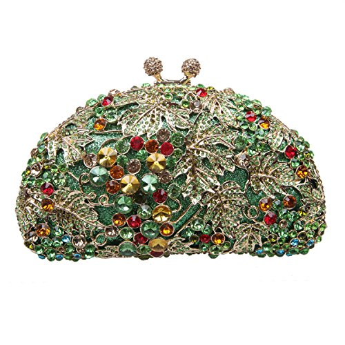 Bonjanvye Glitter Studded Grape Shape Clutch Purses Bags for Ladies Daily Dressing Multicolor Multicolore