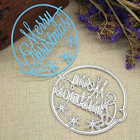 Merry Christmas Scrapbooking Die Cut,Omiky® Cutting Die Template 3D Stereoscopic Sliver Stencils For DIY Scrapbooking Album Paper Card Art Craft Making Party Decor (Merry