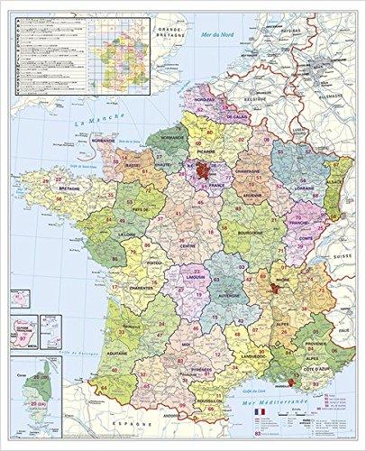 Preisvergleich Produktbild Frankreich Postleitzahlenkarte