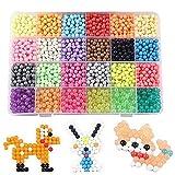 FunBeads Nachfüllset für Regelmäßige Größe Aquabeads Aqua Beads Bastelset Designer Kollektion für Kinder mit Kristallperlen (24 Farben, 3000 Perlen)