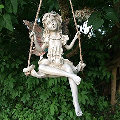 Forest Fairy Hanging Rope Swing Copper Winged White Sculpture Figurine
