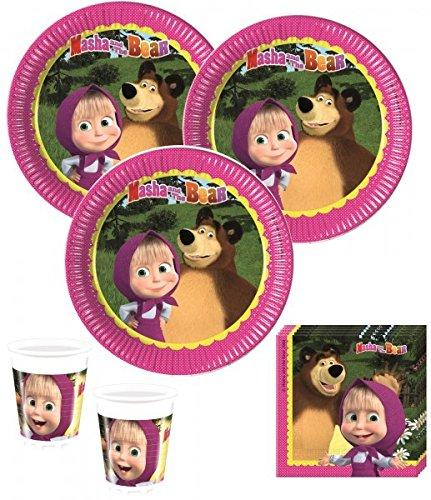 52 Teile Mascha und der Bär Party Deko Set für 16 Kinder