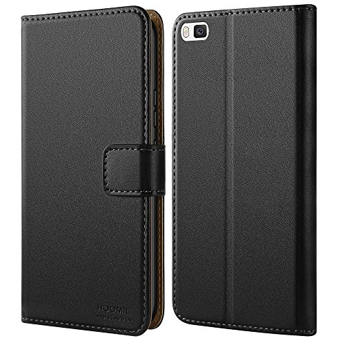 HOOMIL Huawei P8 Hülle, Handyhülle Huawei P8 Tasche Leder Flip Case Brieftasche Etui Schutzhülle für Huawei P8 Cover - Schwarz (H3062)