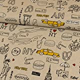 Dekostoff I Love New York hellbeige Canvasstoff - Preis