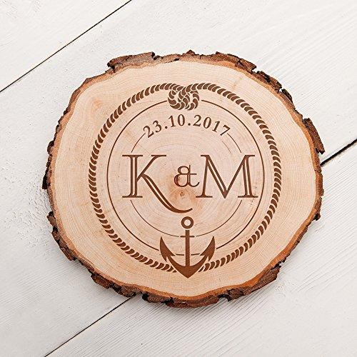 Casa Vivente – Baumscheibe mit Gravur – Anker und Knoten – Personalisiert mit Initialen und Datum – Wand-Deko – Türschild für Paare – Echtholz – Geschenkidee Hochzeit