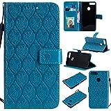 MOONESS Huawei Honor 9 Lite Wallet Case Hülle, Blu Stand Hülle Schutzhülle PU Leder Flip Tasche Case mit Karte Halter und Magnetisch Flip Bumper Ledertasche(T-Blau)