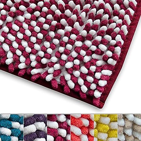 Tapis de bain framboise et blanc chenille casa pura® absorbant   microfibre   6 coloris au choix   Manta - 50x80cm