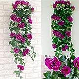 Kunstseide Rose Blume Efeu Reben Blatt hängende Girlande dekorative Hängepflanze für Hochzeit Garten Hotel Büro Valentin Dekoration, Packung 2 (lila)
