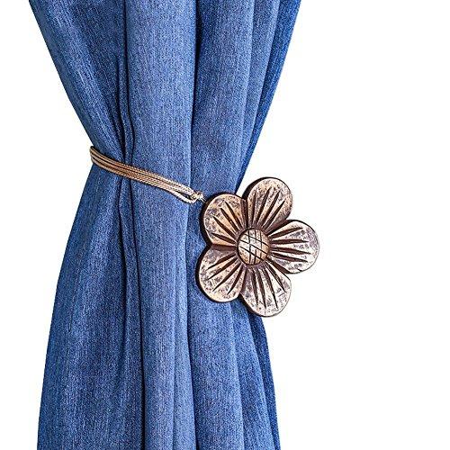 shinywear Outdoor Vintage Flower Vorhang Clips Schnalle magnetisch Schlafzimmer Dekorative raffarme Raffhaltern Seilhalter für Saiten draperys Art Deco Vintage Bronze -