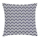 FAFANI Chevron Throw Pillow Cushion Cover, Geometrical Zig Zag Striped Pattern on White Background Modern Art Design, Decorative Square Accent Pillow Case, 18 X 18 Inches, Navy Blue White