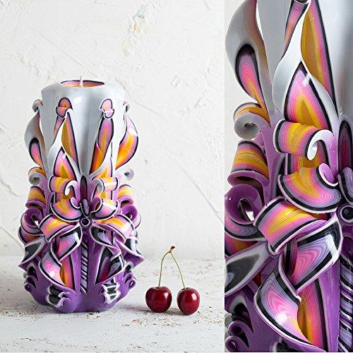 Geformte Einheit (Lila, geschnitzte Kerze - dekorative Kerzen - Schicke Beleuchtung - Kerzenmacher - handgemachte EveCandles)