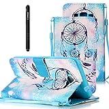 Slynmax Leder Tasche Hülle Kompatibel mit Samsung Galaxy Grand Prime G530 Hülle Lanyard Flip Cover Wallet Case Brieftasche Lederhülle Slim Ledertasche Handyhülle Handytasche Kartenfach,Blaue Campanula