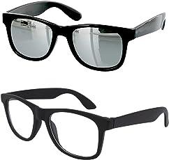 Younky Combo Of Uv Protected Branded Mercury Wayfarer Sunglasses For Men Women Boys & Girls ( Silver_Wayfarer-_Clear_Wayfare ) - 2 Sunglass Case
