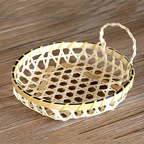 Creativo mano manico di bambù manico piatto rotondo, vassoio del tè piatto di frutta, cesti