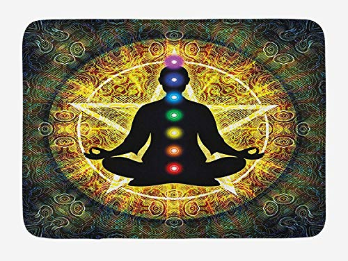 EJjheadband Chakra Bath Mat, Silhouette of Meditating Body with Vital Energy Point Reflections and Pentagram, Plush Bathroom Decor Mat with Non Slip Backing, 29.5 W X 17.5 W Inches, Multicolor