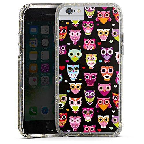 Apple iPhone 7 Bumper Hülle Bumper Case Glitzer Hülle Eulen Owl Pattern Muster Bumper Case Glitzer gold