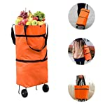 Zeebly Reusable Grocery Trolley Shopping Bags - Foldable Eco Portable Tote Grocery Bags with Wheels,Large Collapsible...