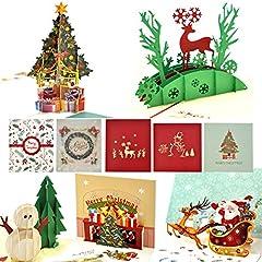 Idea Regalo - eZAKKA, biglietti di auguri di Natale 3D, con buste a tema natalizio, confezione da 5 (scritte in lingua inglese)