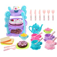 iBaseToy 35 Pieces Tea Set for Kids - Pretend Play Tea Party Set Toys for Kids Toddlers Boys Girls, Includes Full Tea Set with Pastries, Cake Stand and More, Food-Safe Material, Dishwasher Safe