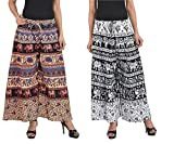 MRV FASHION Cotton Printed Stylish Multicolour Plazzo Pants For Women/ girls (Assorted Colour & Assorted Design) (B&W & Coffee)