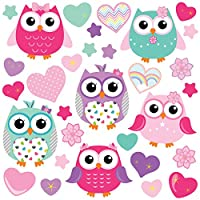 GET STICKING DÉCOR® CUTE OWL WALL STICKERS COLLECTION, ColourfulOwls Owls.3, Matt Vinyl, Pink/ Purple/ Turquoise Color. (Large)