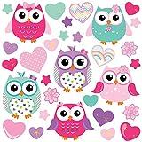 GET STICKING DÉCOR® Niedliche Eule/ Herz/ Stern Wandtattoo, Wandsticker Kollektion, ColourfulOwls Owls.3, Glänzend Herausnehmbar Vinyl, Multi Farbe. (Large)