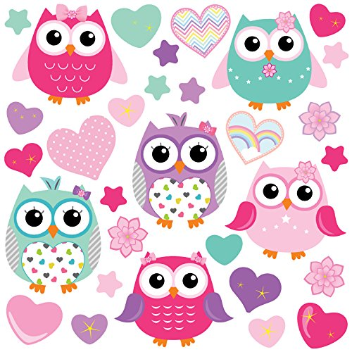 GET STICKING DECOR® Búho Lindo/ Corazón/ Estrella Pegatinas De Pared/ Calcomanías Colección, ColorfulOwls Owls.3, Vinilo Removible Brillante, Multi Color. (Large)