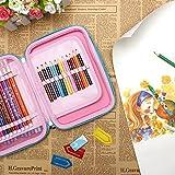 Matita di colorazione, 48schede multi-funzionale grande capacità sacchetto penne di peluche, forma Wrap case, acquerello matita Wrap Eloki portapenne organizer (rosa)