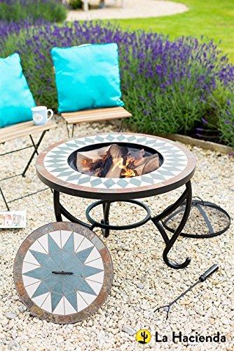 La Hacienda Tiled Firepit Table with Grill & Centre Lid