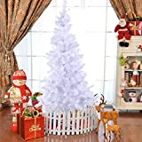 COSTWAY Weihnachtsbaum künstlicher Tannenbaum Christbaum Kunstbaum Dekobaum mit Metallständer 150cm/180cm/210cm/240cm weiß
