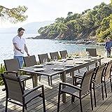 Table extensible Azua en bois 10 personnes taupe structure anthracite