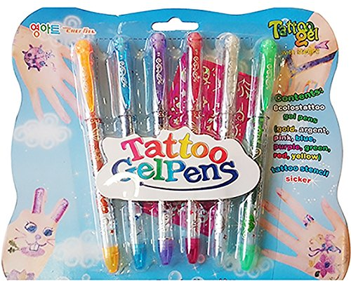 6-temporary-tattoo-gel-pens-semi-pemanent-body-glitter-skin-tattoo-with-patterened-sticker-stencils-