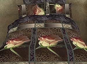 200x220 Bettwäsche Bettwäscheset Bettbezüge Microfaser Bettwäschegarnituren mit dem Spannbettlaken Reißverschluss Blumenmuster braun rosa creme grau