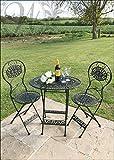 Schwarz Vintage-Stil Garten Gusseisen Tisch und Stühle