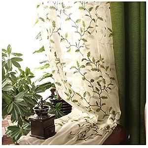 CYSTYLE Neue 1er Stickerei Blätter Schal Garn Vorhang Dekosachl Transparent Gardinen,Vorhang Voile Fensterschal…