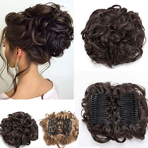 Chignon capelli finti ricci extension updo pettini hair magic clip elastico bun & coda di cavallo accessori capelli da donna 80g - castano medio