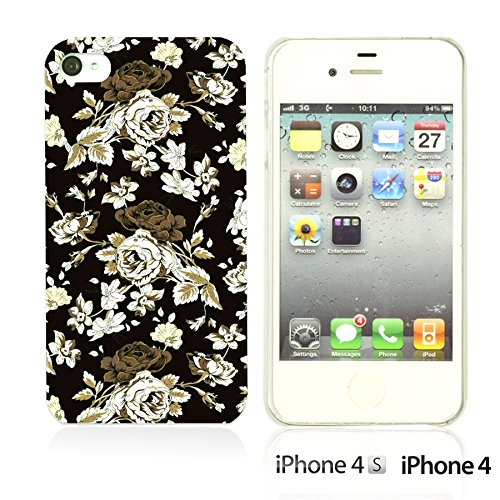 OBiDi - Flower Pattern Hardback Case / Housse pour Apple iPhone 4S / Apple iPhone 4 - Multicolor Floral Shapes Vintage Roses