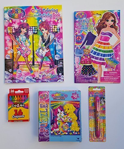Lisa Frank Activity Bundle Including 1 Diva Fashions Dress-Up Sticker Dolls, 1 Giant Coloring and Activity Book, 48 Piece Puzzle, Six Color Changeable Pen, & Super Bright Crayons by Lisa Frank