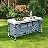 Outsunny Folding Picnic Table Portable Adjustable Camping Table Aluminum Outdoor Dining w/ Storage Underneath
