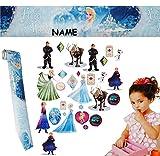 Unbekannt 30 Stück: Wandsticker + Bordüre -  Frozen / Disney die Eiskönigin  - incl. Name - selbstklebend + wiederverwendbar - Aufkleber für Kinderzimmer - Wandtattoo..