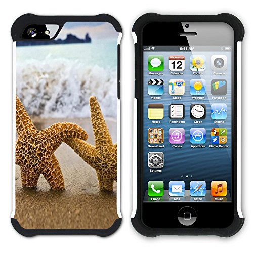 """Graphic4You """"Hello Summer"""" Seestern Sand Strand Hart + Weiche Kratzfeste Hülle Case Schale Tasche Schutzhülle für Apple iPhone SE / 5 / 5S Design #18"""